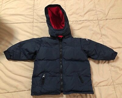 Baby Gap Boys Puffer Jacket Coat Down Blue Winter Kids Toddler 12-18 Months Hood