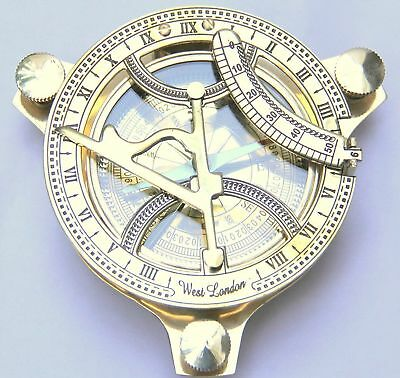 Compass Sundial Magnetic Brass Finish4 Inch in Antique Look