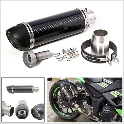 51mm Motorcycle Real Carbon Fiber Slip-On Exhaust Muffler Pipe with DB Killer