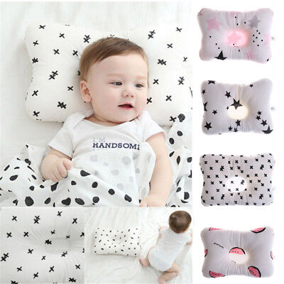 Newborn Infant Baby Pillow Prevent Anti Roll Baby Flat Head Neck Cushion Pillow@