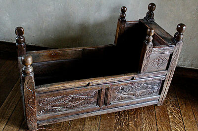 Antique 17th Century Carved Oak Cot Cradle Bed