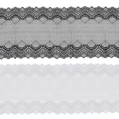 5 Yards Floral Embroidered Lace Edge Trim Polyester Tulle Mesh Craft Ribbon 24cm