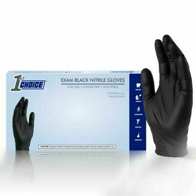 1st Choice Black Medical Nitrile Exam Latex Free Disposable Gloves - 1000/ct