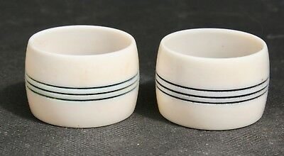 Vintage Retro Pair of Celluloid Napkin Rings 1930s with Incised Banding.