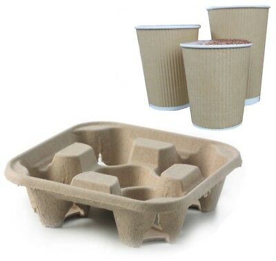 4 Cup Cardboard Holder Tray Hot Cold Drink Carrier Biodegradable Take Away Trays