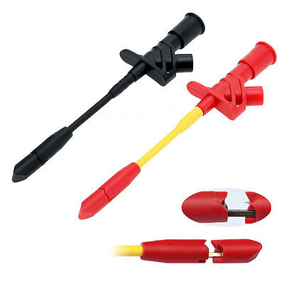 1x Fully Insulated Quick Piercing Test Clips Multimeter Test Probe Spring Load``