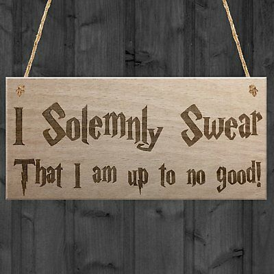 Red Ocean Solemnly Swear No Good Wizardry Hanging Plaque Magic Man Cave Bar Pub