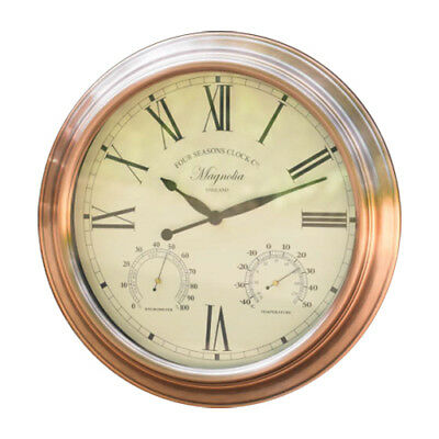 """Vintage Copper Effect 15"""" Magnolia Wall Clock With Thermometer & Hygrometer"""