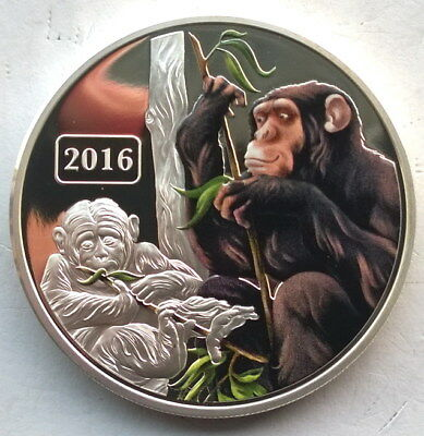 Tokelau 2016 Year of Monkey 5 Dollars 1oz Colour Silver Coin,Proof