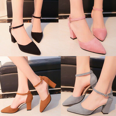 2018 Women Ladies  Block Heel Pointed Toe Sandals Ankle Strap Pumps Ladies Shoes