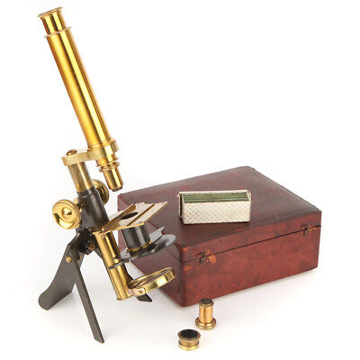 """A Rare Highley's """"Student"""" Brass Microscope Outfit"""