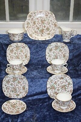 Lovely Windsor Bone China Hand Painted Tea set Green Brown Foliage