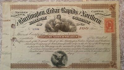 antique    BURLINGTON    CEDAR RAPIDS    RAILWAY   STOCK    CERTIFICATE