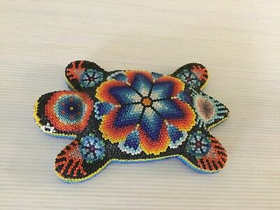 Mexico Turtle Huichol Folk Art Colorful Beaded Carved Wood