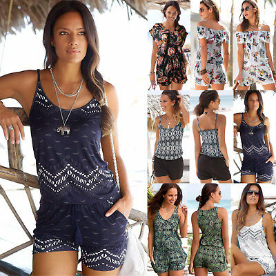 UK Womens Holiday Mini Playsuit Ladies Summer Beach Shorts Jumpsuit Dress 6-18