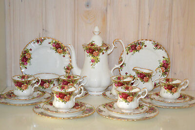 Royal Albert-Bone China-England-Old Country Roses-Komplett-Kaffeeservice-21 Tlg.