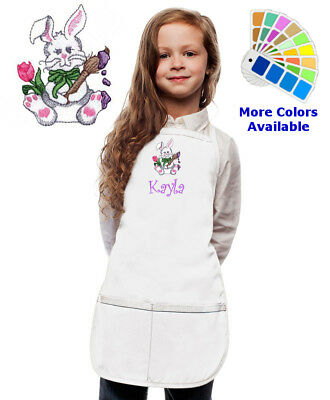 Personalized Kids Easter Apron with Easter Bunny Embroidery Design Girl Boy