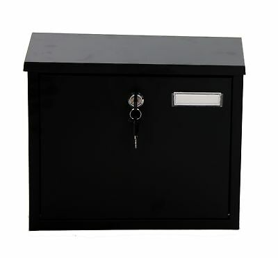 Large Letter Box Black Outdoor Mail Postbox Lockable Wall Mounted