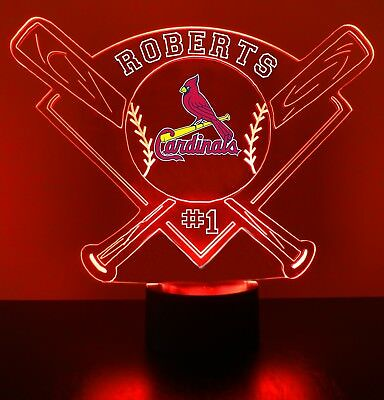 St. Louis Cardinals MLB Baseball Personalized FREE Light Up Illusion LED Light