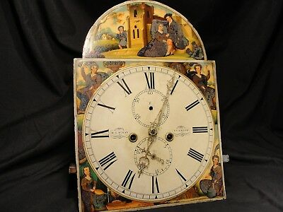 Antique Scottish Grandfather Clock Face & Movement Glasgow 4 Seasons 1837