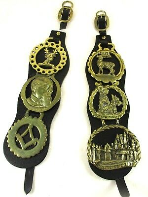 6 Vintage Brass Horse Tack Medallions Attached To Leather Straps