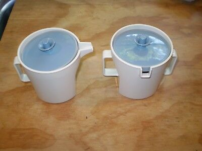 VINTAGE Tupperware~Cream & Sugar Servers~Country Blue Button Lids~1414 & 1415