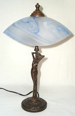 G109: Art Nouveau Table Lamp,Lamp Burnished Brass with Blue Shell Shield