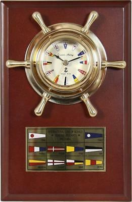 G3100: Signal Flags Watch, Flags Dial Face, Nautic Watch on Wood Panel Brass