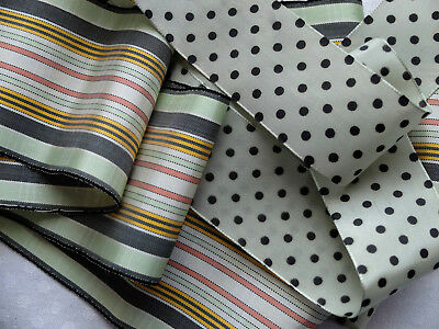 2 pcs antique rayon millinery ribbon from France - stripes and spots