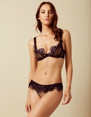 Agent Provocateur Piper Navy Bra   Ouvert Brief Set 34D Medium Ap3 Bnwt 66baba2a3