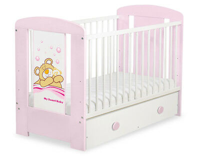 NEW COT - BED 120x60 WITH DRAWER  INCLUDING FOAM MATTRESS 17 COLOUR