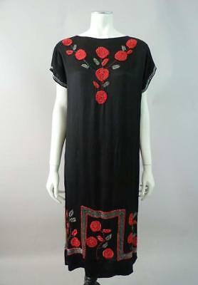Original 1920s beaded flapper dress in red and black silk satin - UK 8, 10, 12