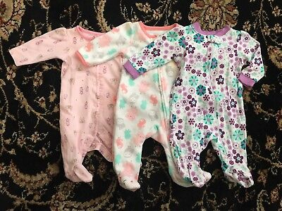 Assorted Newborn Baby Girl Sleepers Lot Of 3