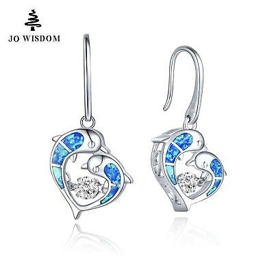 Dolphin Earrings, Topaz, with Dancing Stone, .925 Silver