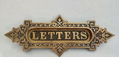 Antique Vintage LETTERS MAIL Slot brass/bronze hinged Plate Art Deco