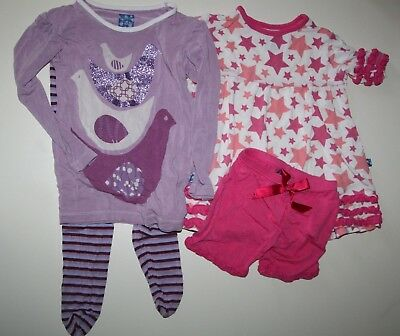KicKee Pants Girls 3T 4T Lot of Pajamas Sleepwear Pink Stars Purple Doves