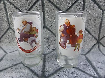 Norman Rockwell Country Time Lemonade Drinking Glasses Cups Set of 2