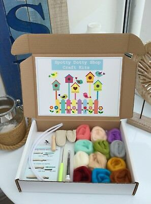 Wool Felting Supplies Spotty Dotty Craft Kit Needles Roving Wool Boxed Starter D