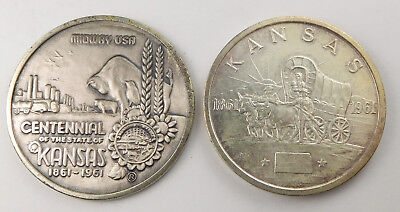 Kansas - Pair Of 1861-1961 Kansas Statehood Centennial Silver Medals