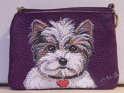 hand painted Yorkie portrait genuine leather coin purse with key ring two topzip