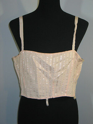 Vintage 1940-50s Peach Cotton Crop Top Longline Bra Bandeau- Rockabilly