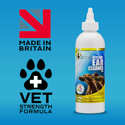 *VET QUALITY* XL 230ml DR DOG Pro Ear Cleaner drops,Itching,Mites,Wax,Odour dogs