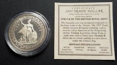 1997 Hong Kong Britannia Return to China Trade Dollar Version A W/ COA