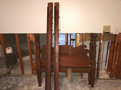 Wooden Antique 3/4 size Cannon Ball Rope Bed