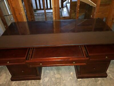 Wooden Bombay Two Piece Executive Size Desk 7 Drawers Glass Top