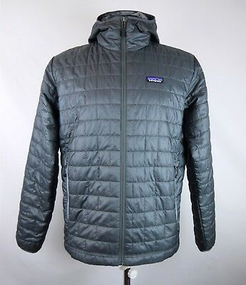 Patagonia Mens Charcoal Gray Quilted Hooded Zip-Up Puffer Jacket SZ L