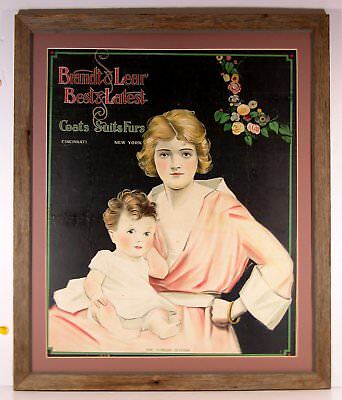 1910s WOMENS AND CHILDRENS CLOTHING CHROMOLITHOGRAPH ADVERTISING SIGN w/ WOMAN