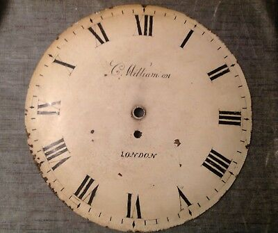 "Antique Wall Clock Dial 12"" Convex With Makers Mark C H Williamson London"