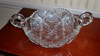 Large Cut Glass Crystal Double Handled Candy Dish, Brilliant Period