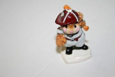 Wee Forest Folk MS15 BATTER UP Mice WFF miniature mouse BASEBALL sport glove bat